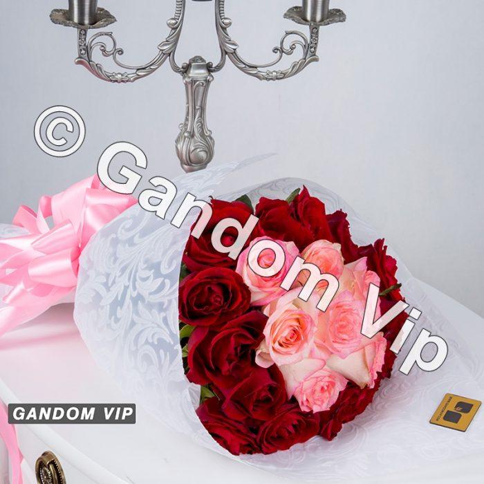 دسته گل صورتی و قرمز