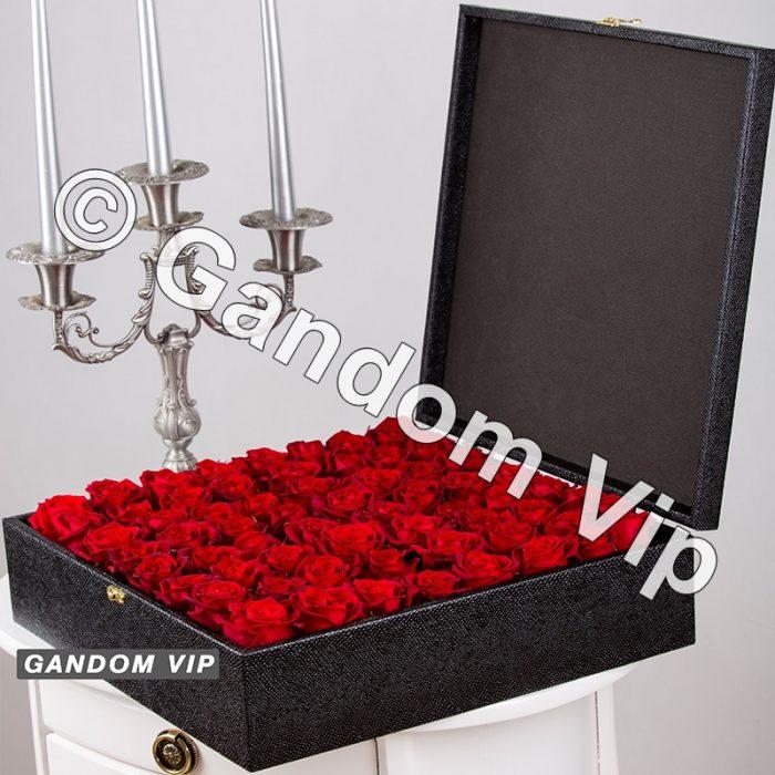 باکس گل رز | خرید باکس گل رز چرمی لاکچری کد 545