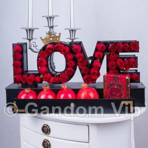 جعبه گل یلدا | جعبه گل عشق | باکس گل love