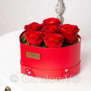 گل رز جاودان قرمز با باکس قلب