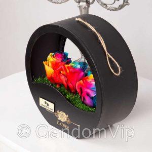 خرید گل رز جاودان هفت رنگ