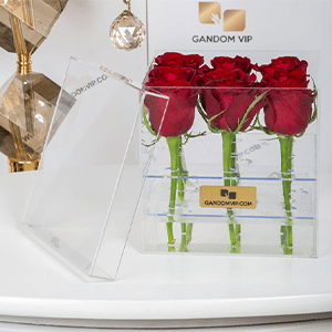 باکس گل رز شیشه ای