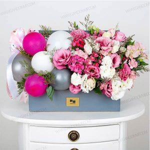 باکس گل چوبی با بادکنک