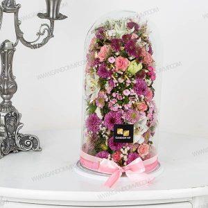 باکس گل شیشه ای استوانه ای
