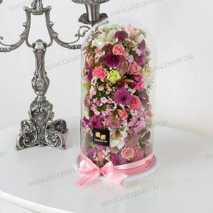 باکس گل حباب | باکس گل شیشه ای استوانه ای