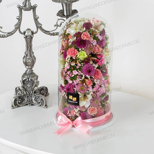 باکس گل حباب   باکس گل شیشه ای استوانه ای