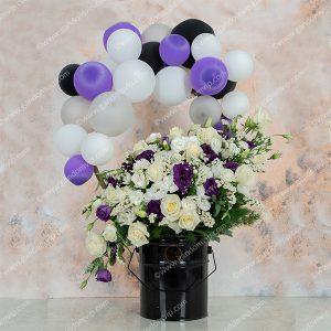 باکس گل تولد با بادکنک